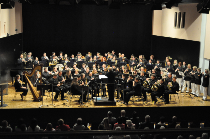 Massed Bands: Stadtkapelle Laupheim and Ohio Northern University Wind Orchestra perform together on May 19, 2017 in Laupheim
